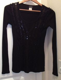 BUCKLE DAY TRIP BLACK RIBBED LONG SLEEVE HENLEY TOP EMBELLISHED SEQUINS SZ SMALL #Daytrip #KnitTop #Casual