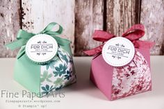 Stampin up - Kuppelbox, Domebox, Minzmakrone, Zarte Pflaume, DSP Frühlings Fantasie, Blooms & Bliss Designer Series Paper, Stempelset Hausgemachte Leckerbissen - Fine Paper Arts