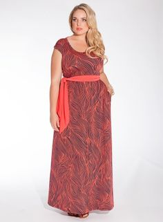b4318ae23d4 Plus Size Maxi Dress in Coral Wave Plus Size Maxi Dresses