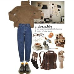 Mode Outfits, Retro Outfits, Grunge Outfits, Fall Outfits, Vintage Outfits, Casual Outfits, Vintage Fashion, Aesthetic Fashion, Look Fashion