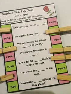 FREEBIE Homophone cards - rose or rows - Which homophone? 5 Cards for 5 homophone pairs!