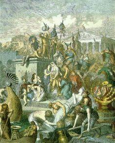 Saque de Roma pelos vândalos em 455 .  Após o crescimento econômico e territorial  durante os séculos I,II e III o império romano começa a entrar em declínio , enfraquecido foi alvo de diversas invasões bárbaras que acabaram culminando no fim do império no ocidente com a deposição do ultimo imperador e domínio pelos bárbaros.