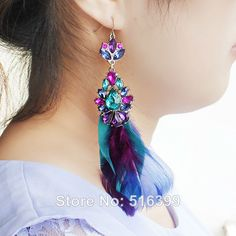 Feather Earrings Bijoux Brand Design Brincos 2014 Fashion Jewelry for Women Green Blue Purple Mix Color $5.49