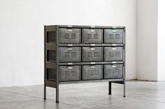 3 x 3 Vintage Locker Basket Unit in Monochrome Natural Steel