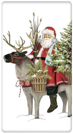 Wilderness Reindeer Christmas Santa 100% Cotton Flour Sack Dish Towel Tea Towel