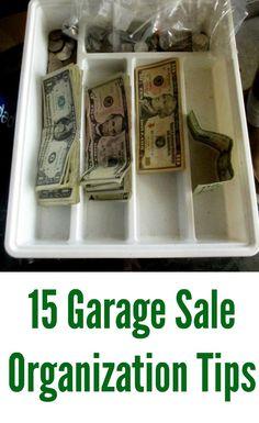 Life Hacks : 15 Garage sale organization tips and tricks. Yard sale or rummage sale display ideas. 15 Garage sale organization tips and tricks. Garage Sale Organization, Garage Storage, Organization Hacks, Storage Racks, Organizing Tips, Garage Sale Signs, Garage Sale Pricing, Yard Sale Signs, Tips And Tricks