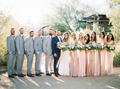 Las Vegas Fall Wedding in blush & gold via Magnolia Rouge Blush And Grey Wedding, Gray Wedding Colors, Mauve Wedding, Blush And Gold, Rose Wedding, Wedding Bridesmaids, Blush Pink Weddings, Bridesmaid Dresses, Wedding Colors