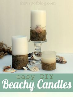 Give plain pillar candles a beachy look with sand and seashells.