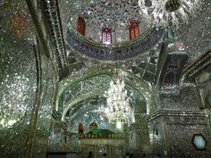 Mirrored mosaic walls in the King of Light (Shah Cheragh) Mosque, Shiraz, Iran