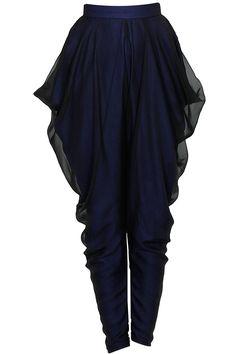 Blue draped dhoti pants