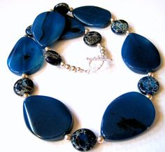 Navy Cobalt Blue Agate Necklace Aqua Terra by JemsbyJBandCompany, $94.00