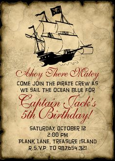 Pirate party - party invitation