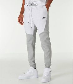 Front view of Men's Nike Tech Fleece Jogger Pants in Birch/Heather Grey Jogger Pants Outfit, Mens Jogger Pants, Mens Sweatpants, Fleece Joggers, Nike Joggers, Nike Pants, Nike Tech Fleece Pants, Mens Tracksuit, Men Shorts