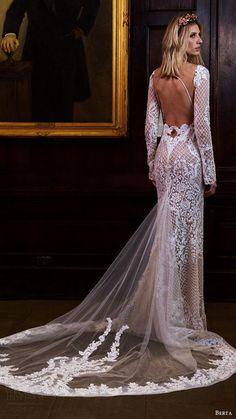BERTA bridal fall 2016 long sleeves split sweetheart fully beaded sheath wedding dress.