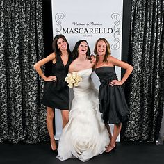 Personalized Black & White Photo Booth Backdrop. Invite everyone to take a photo with the newlyweds. Personalize with 3 lines: 26 characters/spaces on the 1st ...