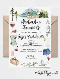 Camping Bachelorette Invitation // Weekend In The Woods // Bachelorette Party