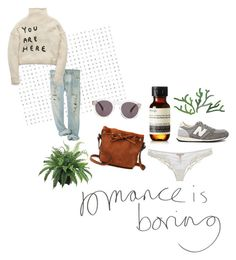 """romance is boring"" by amsbullock ❤ liked on Polyvore featuring Illesteva, Aesop, Ermanno Scervino Lingerie and New Balance"