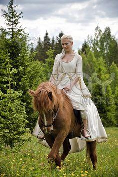 fantasy, maiden, forest, medieval, horse