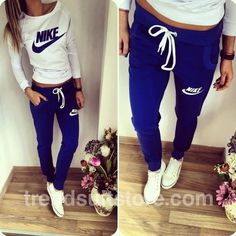 #pants #shirt #nike Stylish women's navy blue and milky sweatsuit