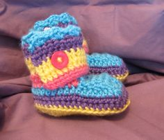 Bright Rainbow Crochet Baby Shoes (Approximate Size 3 - 6 Months) - Matching Hat Available (Sold Separately). $12.50, via Etsy.