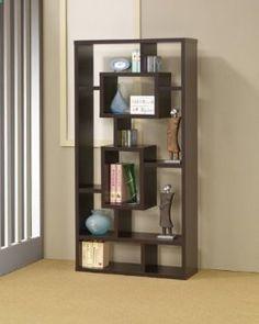 Espresso finish wood bookshelf with multi size compartments