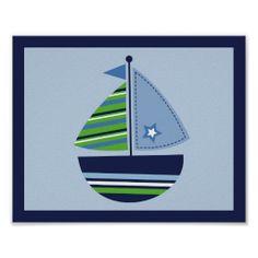 Sailboat Transportation Boy Nursery Wall Art Print