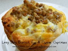 Biscuit-Sausage-Egg-Cheese Breakfast Cupcakes... easy and awesome!