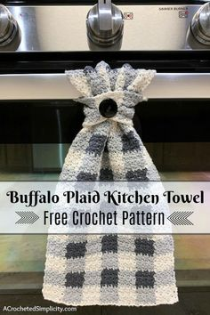 Free Crochet Pattern - Buffalo Plaid Dish Towel by A Crocheted Simplicity #buffaloplaidtowel #buffaloplaidcrochet #freecrochetpattern #crochetdishtowel #crochetteatowel #farmhousechecktowel #crochetkitchentowel