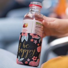 """Be Happy"" Drink Sleeve w/Pocket - Sweet Tea & Shopping Marketplace Happy Drink, Sweet Tea, Inspirational Gifts, Hand Warmers, Cool Artwork, Drink Sleeves, Vodka Bottle, Drinks, How To Make"