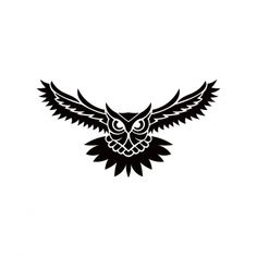 Owl logo vector illustration emblem design on white PNG and Vector Tribal Owl Tattoos, Wolf Tattoos, Thai Tattoo, Maori Tattoos, Owl Tattoo Design, Small Tattoo Designs, Simple Lion Tattoo, Owl Stencil, Owl Tattoo Drawings