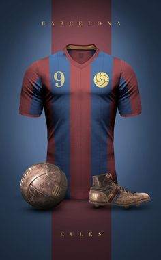 """Concept design of some football clubs in vintage style by Argentinian/Italian graphic designer Emilio Sansolini. """"Experiment to see football jerseys a. Club Football, Retro Football, Football Kits, Football Jerseys, Fc Barcelona, Barcelona Futbol Club, Jersey Retro, Camisa Retro, Image Foot"""