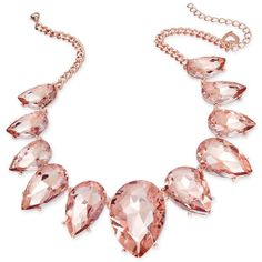 Thalia Sodi Rose Gold-Tone Pink Crystal Statement Necklace, ($50) ❤ liked on Polyvore featuring jewelry, necklaces, rose gold, rose gold tone necklace, pink necklace, pink jewelry, crystal jewellery and teardrop statement necklace