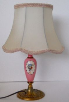 "Table lamp brass & pink ceramic, ivory silk shade, 14"" vintage #Cottage"