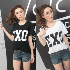 2015 summer womens Harajuku style exo loose short sleeve T shirt ladies fashion casual black white tops-in T-Shirts from Women's Clothing & Accessories on Aliexpress.com | Alibaba Group