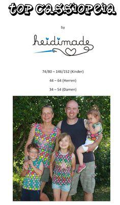 Freebook Top Cassiopaia - Sommertop für die ganze Familie. Kinder 74 - 152, Damen 34 - 54, Herren 44 - 64