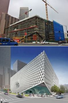 Top:Exterior view, from Grand Avenue, of The Broad under construction. Bottom: Rendering of the exterior of The Broad from 2nd Street and G...