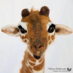 Large Needle Felted Giraffe made of Merino by ahippiewithaminivan