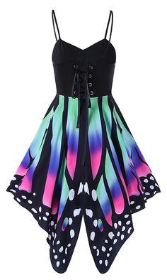Butterfly Print Lace Up Slip Dress
