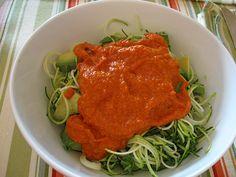 RAW marinara sauce on zucchini spirals... this actually just sounds yummmmmy
