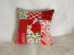 Wilendur Red Rose and Vintage Chenille Patchwork Pillow