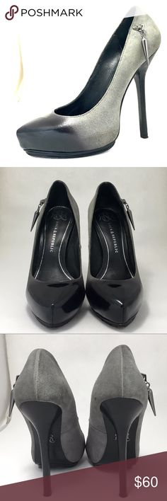 """Rock & Republic 'CELINA' Shoes Women's Sz 7• dark gray gradient pumps• dark smooth leather front and gray suede at heel• gunmetal side pendant• 5"""" stiletto heel , 1"""" covered platforms• leather upper and sole• gently used• dust bag and shoebox included. Rock & Republic Shoes Heels"""