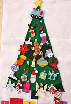tree with buttons and ornaments