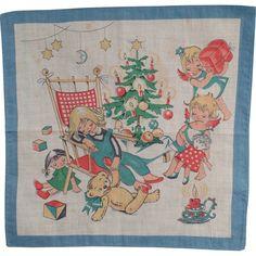 Children's Old Christmas Handkerchief - Very Cute!