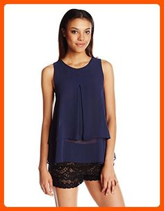 BCBGeneration Women's Tiered Pleated Tank, Dark Navy, Large - All about women (*Amazon Partner-Link)
