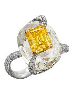 Boghossian Kissing Diamonds ring with a yellow diamond