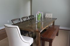 Dining Room. Rustic Dark Varnished Pine Wood Dining Table And Bench Which Mixed With Twin White Fabric Upholstered And Black Solid Wood Chairs. Fancy Dining Table With Bench And Chairs