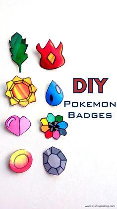 """craftingitalong: """" DIY POKEMON BADGES tutorial here- http://www.craftingitalong.com/2016/08/diy-pokemon-badges.html """""""