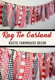 I love this rag tie garland, it reminds me of a picnic or a barbeque with the pretty red and black ginghams. This would be so cute as farmhouse or barn party decor. Backyard Barbeque Party, Baby Shower Barbeque, Red Classroom, Gingham Party, Bbq Party Decorations, Picnic Theme, Barn Parties, Fabric Garland, Housewarming Party