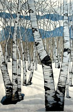 John Myers Art - The wood between Northern Shadows white birch trees, mountains, blue, white, beige and black