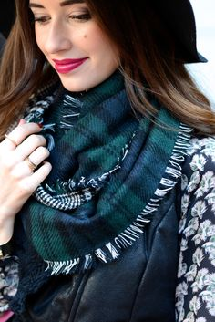 plaid scarf and feather blouse on M Loves M @marmar